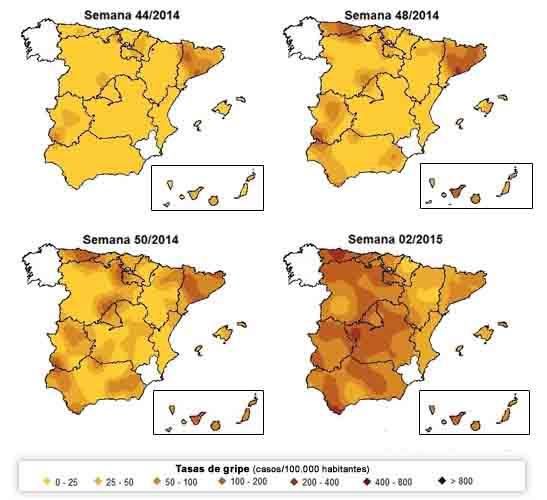 mapa evolución de la gripe en España